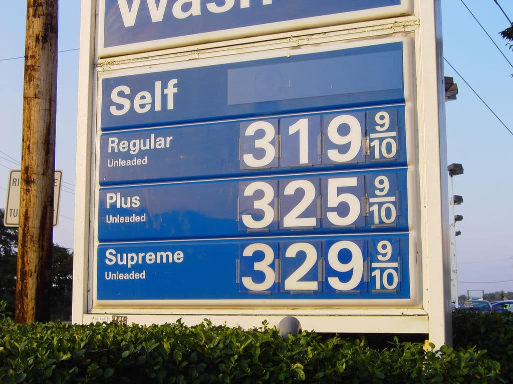 photo of sign with gas prices
