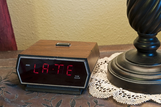 clock that shows LATE