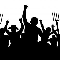 Crowd of people with a pitchfork shovel rake.