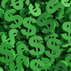 Many green dollar symbols
