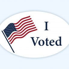 I voted sticker with American Flag