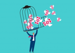 business man holding open cage with money flying out