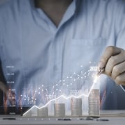 Man projecting annual revenues