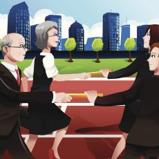 vector illustration of older business people passing batons to the younger generation